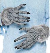 Weerwolf handschoenen grijs met nepbont voor volwassenen - Verkleed accessoires