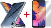 Samsung Galaxy A10 Hoesje - Anti Shock Hybrid Case & Tempered Glas Combi - Transparant