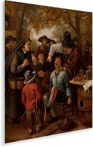 De tandentrekker - Schilderij van Jan Steen Plexiglas 120x160 cm - Foto print op Glas (Plexiglas wanddecoratie) XXL / Groot formaat!