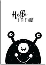 Kinderkamer poster Hello Little One DesignClaud - Zwart wit - A3 poster