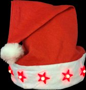 Kerstmuts LED, kerstmis, santa hat LED, lichtgevende basic kerstmuts - 12 stuks