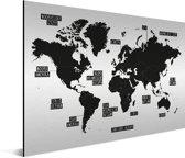 Zwart wit wereldkaart op aluminium Schilderij 120x90 cm | Wereldkaart Wanddecoratie Aluminium