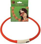 Lichtgevende halsband rood 20-70 cm oplaadbaar