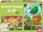 Puzzel Dinosaurus vrienden - Kinderpuzzel - 2x 26 Stukjes