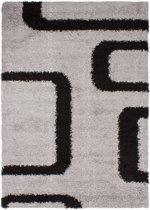 Gunstig Hoogpolig Vloerkleed met Lus Print -  120X170 cm  - Grijs Zwart