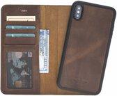 GALATA iPhone Xs Max afneembare 2in1 magneet echt leer bookcase hoesje antiek bruin