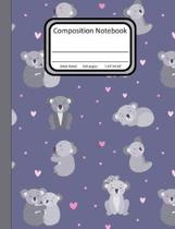 Composition Notebook: Wide Ruled 7.44 x 9.69 in, 100 page book for girls, kids, school, students and teachers