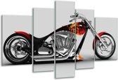 Glasschilderij Motor | Grijs, Zwart, Oranje | 170x100cm 5Luik | Foto print op Glas |  F002046