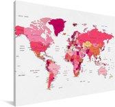 Vrouwelijke roze-gekleurde wereldkaart Canvas 30x20 cm - klein - Foto print op Canvas schilderij (Wanddecoratie woonkamer / slaapkamer)