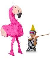 relaxdays pinata flamingo - ophangen - voor kinderen - zelf vullen - verjaardag - roze