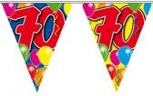 3x Leeftijd versiering vlaggenlijnen / vlaggetjes / slingers 70 jaar geworden thema 10 meter