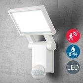 B.K.Licht LED buitenlamp met bewegingssensor en schemersensor - continu licht functie - 20W 2000LM - 4000K neutraal wit licht - wit