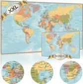 XXL Luxe Wereldkaart Poster (120 x 85 cm) + Bonus Wereldkaart (60 x 42 cm) A2 Vintage| Wereldkaarten Extra Groot Formaat |Grote Wereld Kaart Posters Als Schilderij Aan De Muur Te Hangen In Slaapkamer Of Kinderkamer  Ook verkrijgbaar 140x100 XL