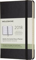 Moleskine 12 Months Weekly Horizontal 2018 - Pocket - Black - Hard Cover