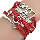 Fako Bijoux® - Multi Armband - Sleutel Hart Gesp Love - Rood