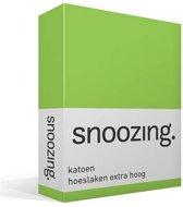 Snoozing - Katoen - Extra Hoog - Hoeslaken - Eenpersoons - 90x200 cm - Lime