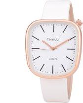 Leren Dames Horloge - Vierkant - Wit & Rosé - Carsidun