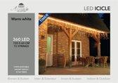 CBD ICICLE LIGHTS 360L/720X60CM LED WARM WIT - 5M AANLOOPSNOER TRANSPARANT - BI-BUI TRAFO TIMER 8/16U