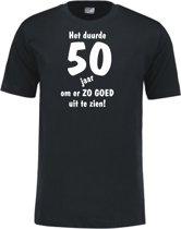 Mijncadeautje - Leeftijd T-shirt - Het duurde 50 jaar - Unisex - Zwart (maat L)