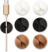 Multifunctionele kabel clips 6 stuks 2x wit 2x bruin en 2x zwart