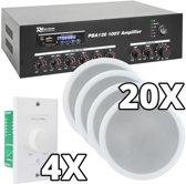 Power Dynamics 100V 4-zone Bluetooth geluidsinstallatie met 20 plafondspeakers en 4 volumeregelaars
