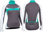 Avento Wielrenshirt Lange Mouw - Dames - Antraciet/Wit/Turquoise - 42