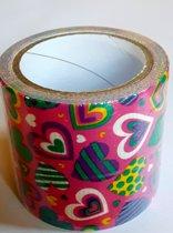 masking tape Roze met Hartjes S - decoratie washi papier tape - 48 mm x 4 m
