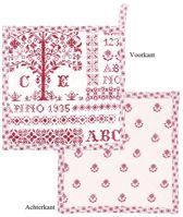 Clayre & Eef - Pannenlappen - Kruissteek patroon - Rood - 20 x 20 cm - 2 stuks