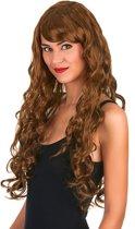 Glamour pruik lang kastanje bruin met krullen voor dames - Verkleedpruik - One size