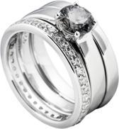 Diamonfire - Zilveren combinatiering Maat 19.5 - Alliance - Grijze solitaire - Glad