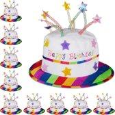 relaxdays 10x Happy Birthday hoed taart - feesthoed verjaardag - pluche - verjaardagshoed