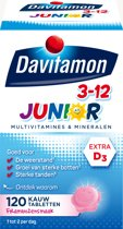 Davitamon Junior 3+ kauwvitamines - kinder multivitamine - framboos - 120 tabletten