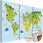 Afbeelding op kurk - Kinder wereldkaart