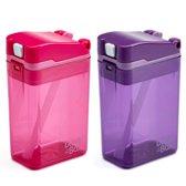 Drink in the Box - Roze en Paars - Duo Pack - Twee Hervulbare Drinkpakjes - Stevig en Duurzaam - 2 x 24 cl