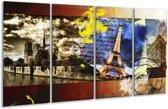 Glasschilderij Modern | Geel, Blauw, Rood | 160x80cm 4Luik | Foto print op Glas |  F004280
