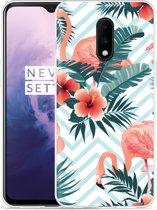OnePlus 7 Hoesje Flamingo Flowers