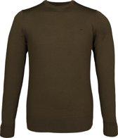Calvin Klein superior wool crew neck pullover - heren trui wol - olijfgroen -  Maat L