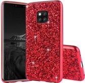 Let op type!! Glittery poeder schokbestendig TPU Case voor Huawei mate 20 Pro (rood)