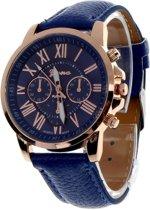 Fako Bijoux® Geneva Roman - Horloge - Leer - Donkerblauw - Ø 38 mm