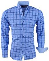 Ferlucci - Heren Overhemd - Geblokt - Puglia - Slim Fit - Navy