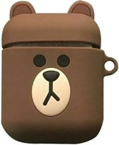 Cartoon Silicone Case voor Apple Airpods - Brown bear - met karabijn