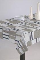Luxe Stoffen Tafellaken - Tafelkleed - Tafelzeil - Hoogwaardig - Duurzaam - Strepen Bruin - 140cm x 180cm