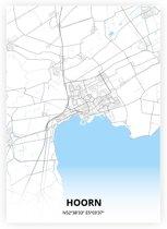 Hoorn plattegrond - A3 poster - Zwart blauwe stijl