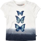 Minymo - meisjes t-shirt - vlinder - blauw wit - Maat 98
