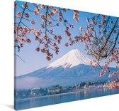 Uitzicht op de Fuji Berg in het Aziatische Japan Canvas 90x60 cm - Foto print op Canvas schilderij (Wanddecoratie woonkamer / slaapkamer)