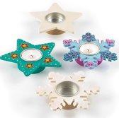 Houten theelichthouders met ster en sneeuwvlok - maak ontwerp je eigen huisdecoratie - creatieve knutselpakket voor kinderen voor Kerstmis/winter (4 stuks)
