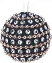 Zwarte kerstballen met steentjes 3,5 cm - kerstboomversiering