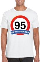 95 jaar and still looking good t-shirt wit - heren - verjaardag shirts XL