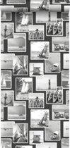ESTAhome behang foto collage strand donkergrijs