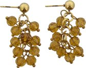 Goud metalen steek oorbellen met bruine transparante kraaltjes eraan.
